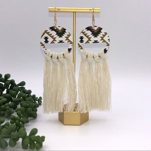 Leather and Macrame Earrings